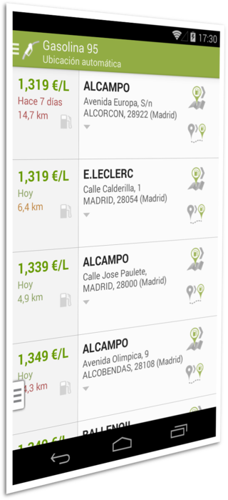 Screenshot 1 of the Gasoline and Diesel Spain app